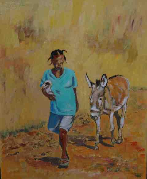 Vagabond Artist Images of Haiti--Lady with Burro