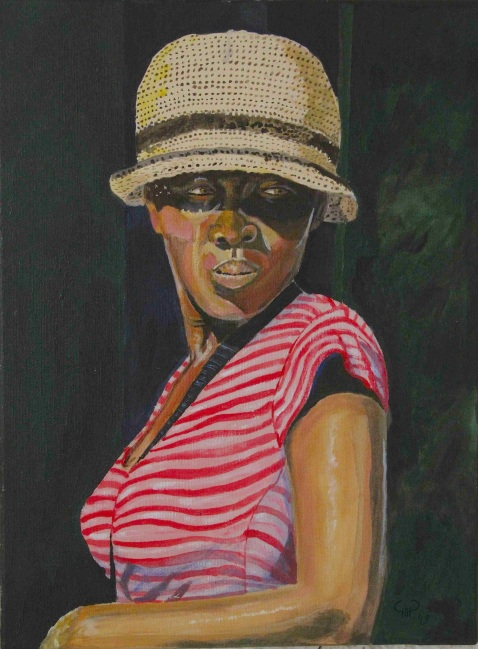 Vagabond Artist Images of Haiti--Lady in Straw Hat and Dappled Sunlight
