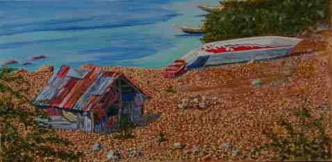 Vagabond Artist Images of Haiti--Tin Shack and Beached Boat