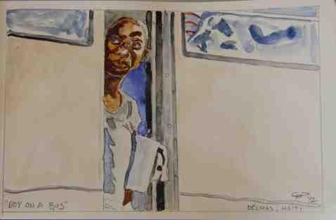 Vagabond Artist Images of Haiti--Boy on a Bus
