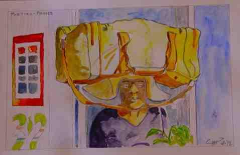 Vagabond Artist Images of Haiti--Luggage Lady
