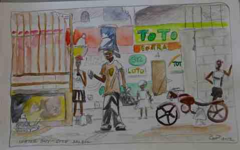 Vagabond Artist Images of Haiti--Water Guy