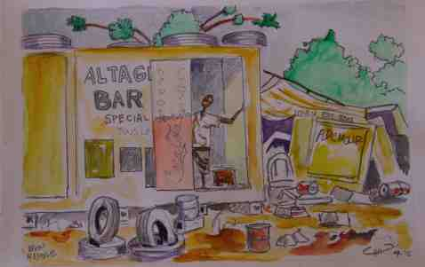 Vagabond Artist Images of Haiti--Local Bar