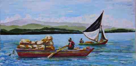 Vagabond Artist Images of Haiti--Wharf Boats