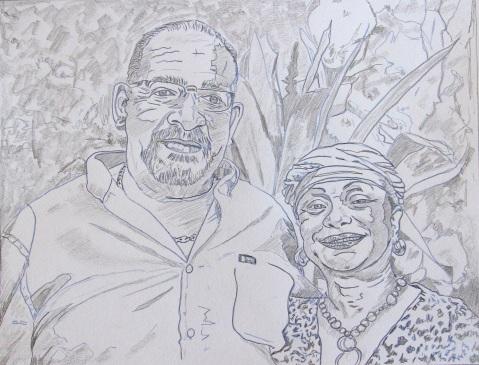 Vagabond Artist Images of Haiti--Bernard & Mimi